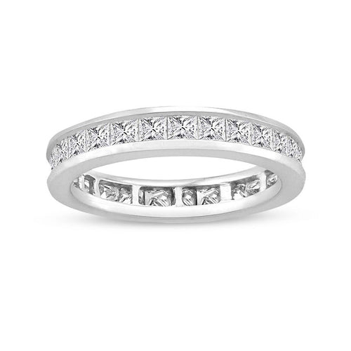 Ladies' 2 CT. T.W. Princess-Cut Diamond Eternity Channel Set Wedding Band in 14K White Gold