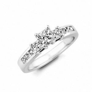 1-3/4 CT. T.W. Certified Princess-Cut Diamond Three Stone Engagement Ring in 14K White Gold (I/SI2)