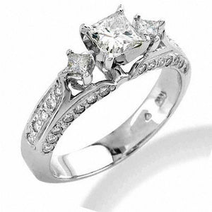2 CT. T.W. Certified Princess-Cut Diamond Three Stone Engagement Ring in 14K White Gold (I/SI2)