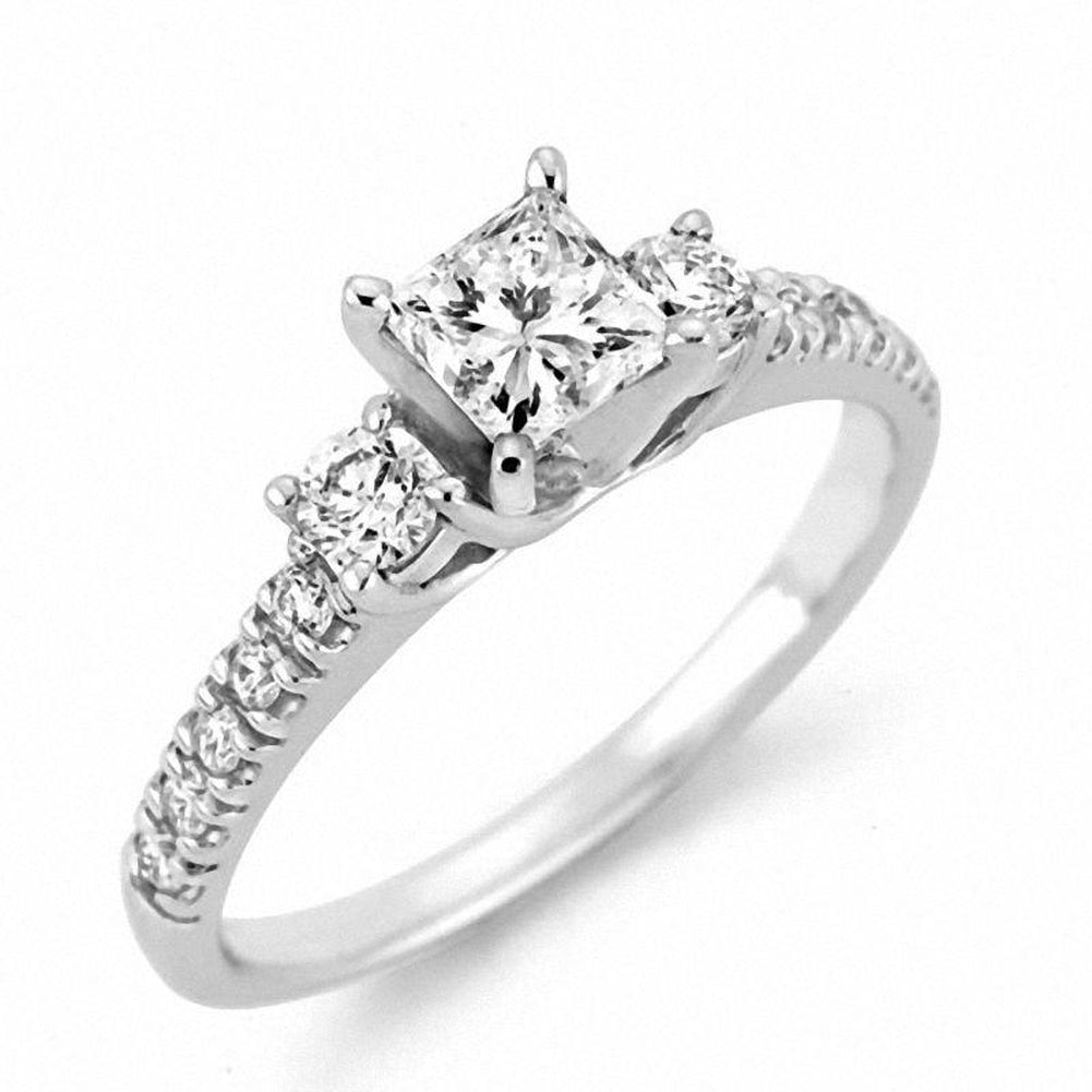 3 CT. T.W. Certified Princess-Cut Diamond Three Stone Engagement Ring in 14K White Gold (I/SI2)