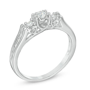 1/5 CT. T.W. Diamond Three Stone Ring in 10K White Gold