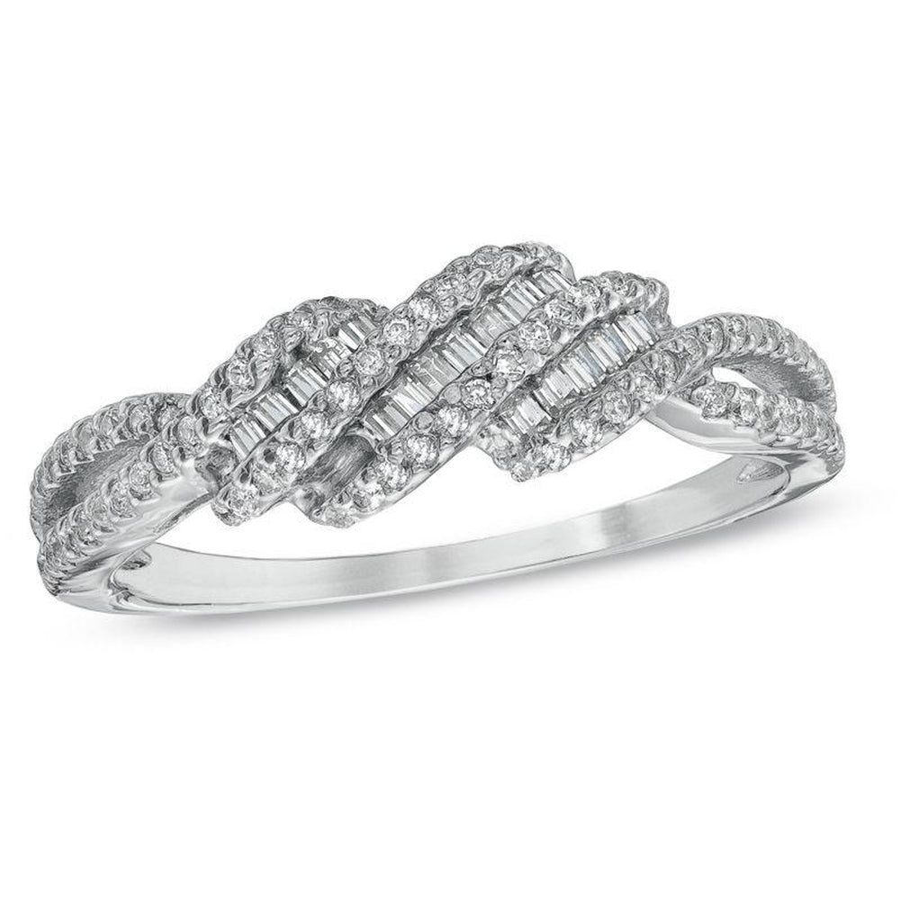 1 3 CT Diamond Multi-Wave Ring in 14K White gold