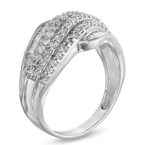 1 CT. T.W. Diamond Wave Band in 10K White Gold