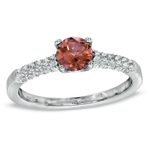 Tourmaline and 1/5 CT. T.W. Diamond Engagement Ring in 10K White Gold