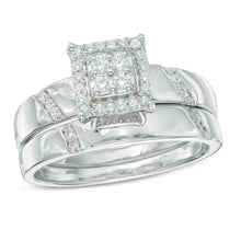 Load image into Gallery viewer, 1/5 CT. T.W. Diamond Square Frame Bridal Set in 10K White Gold