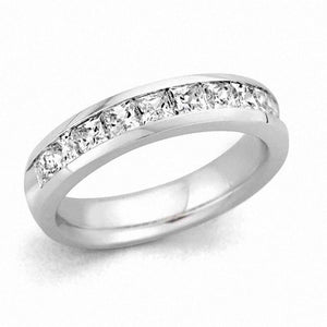 1/4 CT. T.W. Certified Princess-Cut Diamond Wedding Band in 14K White Gold (I/SI2)