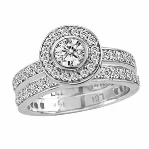 1-1/2 CT. T.W. Diamond Frame Bridal Set in 14K White Gold