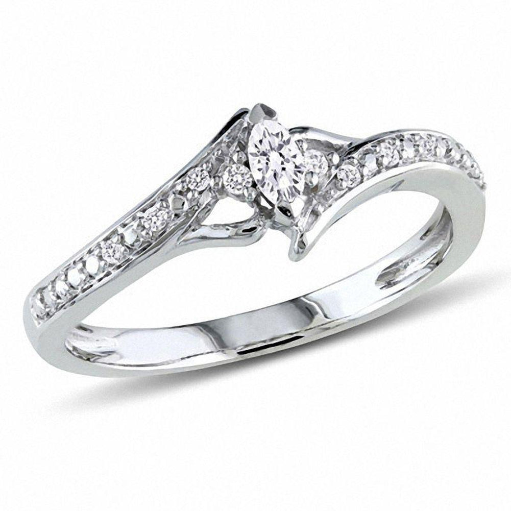 1 6 CT Marquise Diamond Bypass Promise Ring in 14K White gold