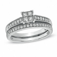 Load image into Gallery viewer, 1/2 CT. T.W. Quad Princess-Cut Diamond Vintage-Style Bridal Set in 10K White Gold