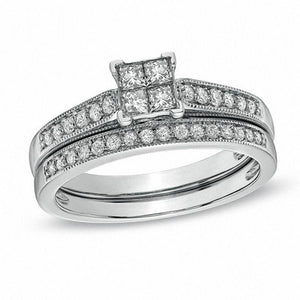1/2 CT. T.W. Quad Princess-Cut Diamond Vintage-Style Bridal Set in 10K White Gold