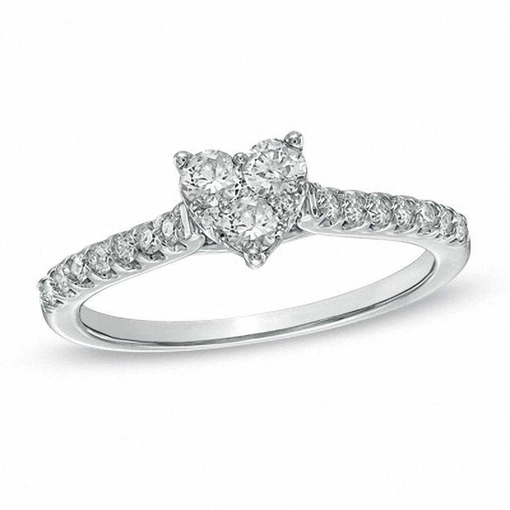 1 2 CT Diamond Heart-Shaped Engagement Ring in 14K White gold