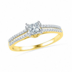 1/3 CT. T.W. Princess-Cut Diamond Split Shank Engagement Ring in 10K Gold