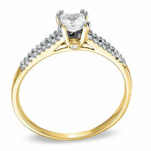 Load image into Gallery viewer, 1/3 CT. T.W. Princess-Cut Diamond Split Shank Engagement Ring in 10K Gold