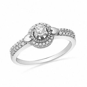 1/3 CT. T.W. Diamond Frame with Side Hearts Promise Ring in 10K White Gold