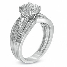 Load image into Gallery viewer, 1/3 CT. T.W. Diamond Cluster Intertwined Bridal Set in 10K White Gold
