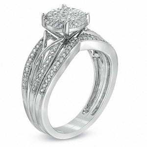 1/3 CT. T.W. Diamond Cluster Intertwined Bridal Set in 10K White Gold