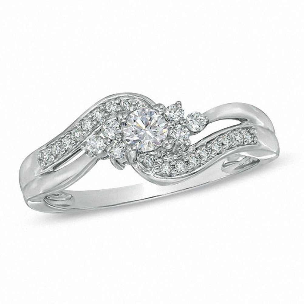 1 3 CT Diamond Swirl Ring in 14K White gold
