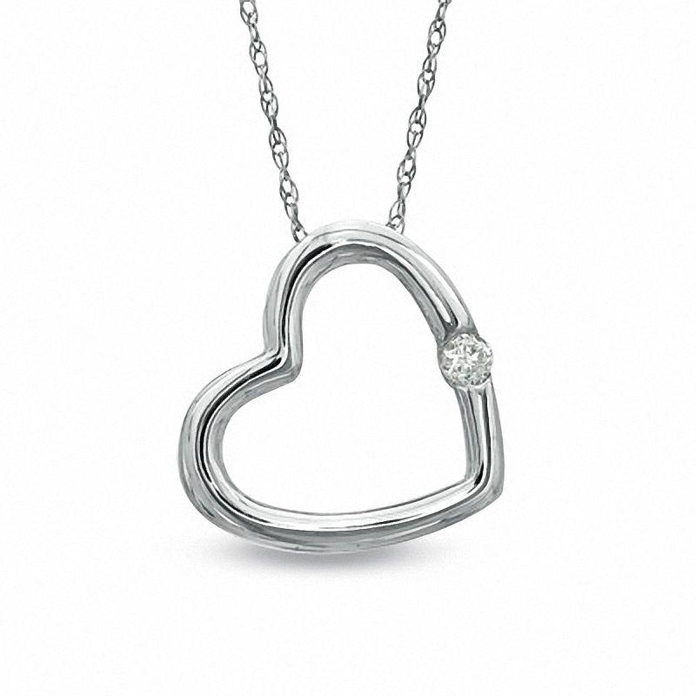 Diamond Accent Tiny Tilted Heart Pendant in 14K White gold