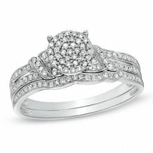 Load image into Gallery viewer, 1/4 CT. T.W. Diamond Cluster Bridal Set in 10K White Gold
