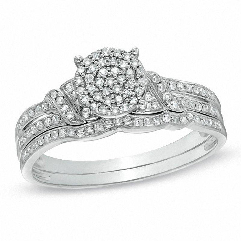 1/4 CT. T.W. Diamond Cluster Bridal Set in 10K White Gold