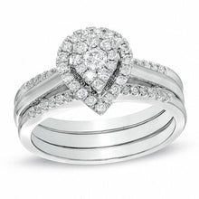 Load image into Gallery viewer, 1/2 CT. T.W. Diamond Cluster Pear-Shaped Frame Bridal Set in 10K White Gold