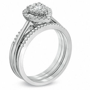 1/2 CT. T.W. Diamond Cluster Pear-Shaped Frame Bridal Set in 10K White Gold