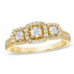 1/2 CT. T.W. Diamond Three Stone Frame Engagement Ring in 10K Gold