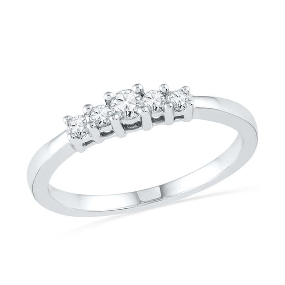 1/5 CT. T.W. Diamond Five Stone Promise Ring in 10K White Gold