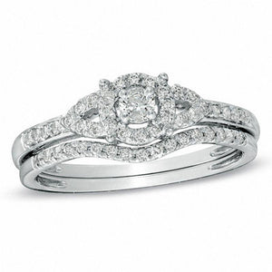 1/3 CT. T.W. Diamond Bridal Set in 14K White Gold