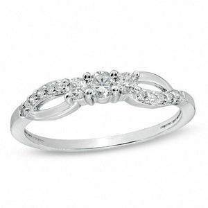 1/4 CT. T.W. Diamond Three Stone Split Shank Ring in 10K White Gold