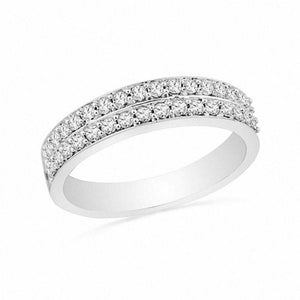 1/3 CT. T.W. Diamond Double Row Wedding Band in 10K White Gold