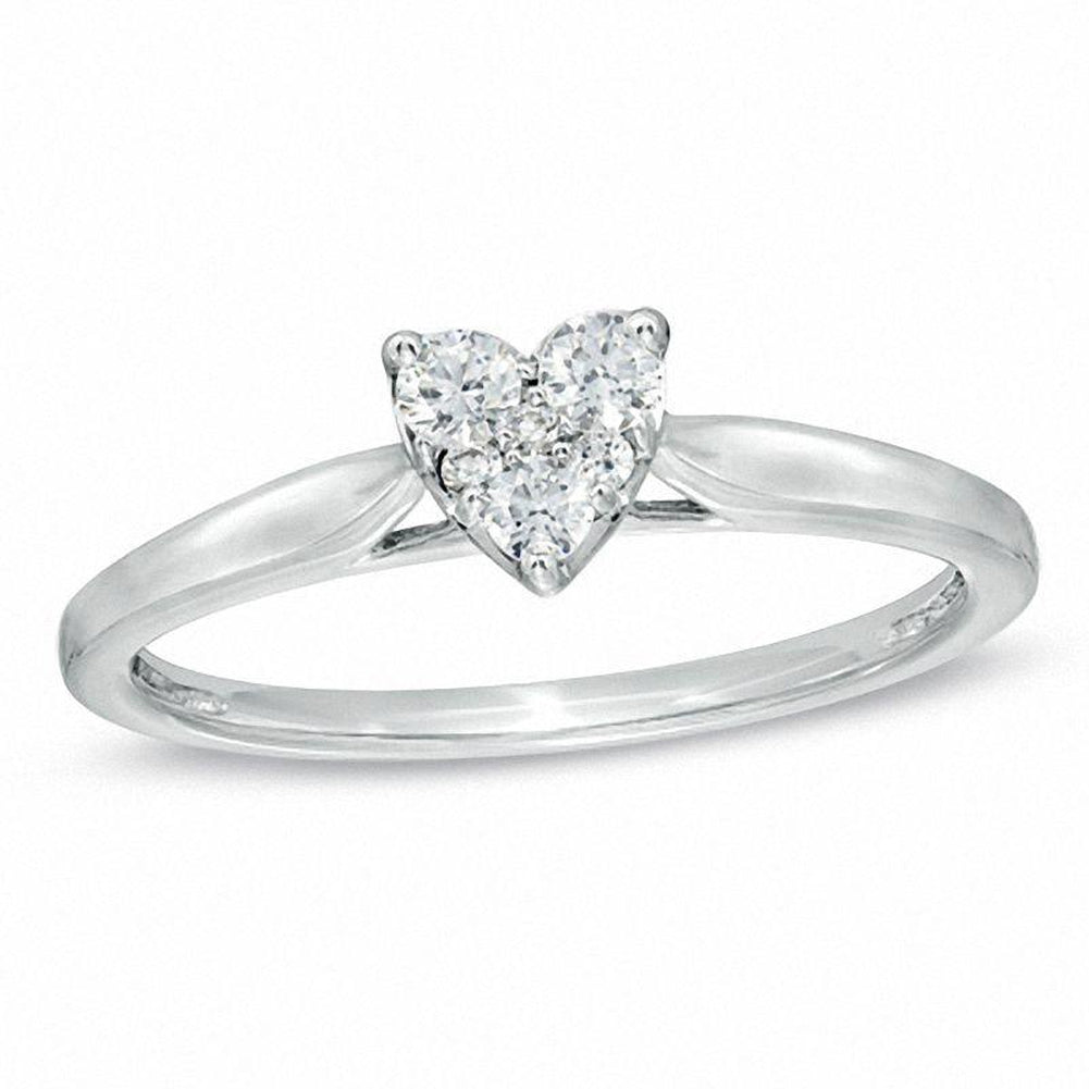 1/5 CT. T.W. Diamond Heart Cluster Promise Ring in 10K White Gold