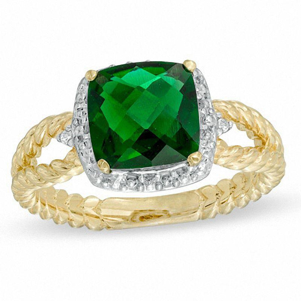 8.0mm Cushion-Cut Lab-Created Emerald and Diamond Accent Ring in 14K gold