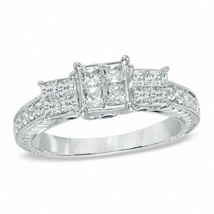 1 CT. T.W. Enhanced Blue and White Quad Princess-Cut Diamond Three Stone Ring in 10K White Gold
