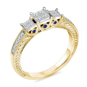 1/2 CT. T.W. Enhanced Blue and White Quad Princess-Cut Diamond Three Stone Ring in 10K Gold