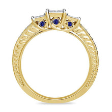 Load image into Gallery viewer, 1/2 CT. T.W. Enhanced Blue and White Quad Princess-Cut Diamond Three Stone Ring in 10K Gold