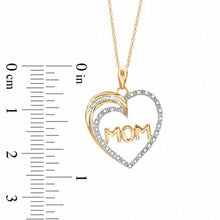 "Load image into Gallery viewer, 1/10 CT. T.W. Diamond ""MOM"" Heart Pendant in 10K Gold"