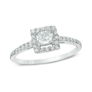 1/2 CT. T.W. Princess-Cut Diamond Frame Engagement Ring in 10K White Gold