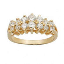 Load image into Gallery viewer, White Topaz Double Row Ring in 10K Gold