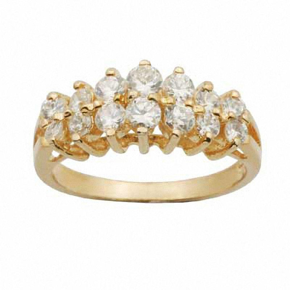 White Topaz Double Row Ring in 10K Gold