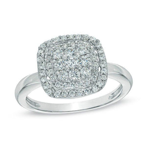 1/2 CT. T.W. Diamond Cushion Cluster Frame Ring in 10K White Gold