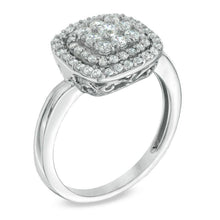 Load image into Gallery viewer, 1/2 CT. T.W. Diamond Cushion Cluster Frame Ring in 10K White Gold