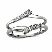 Load image into Gallery viewer, 1/10 CT. T.W. Diamond Double Bypass Solitaire Enhancer in 10K White Gold