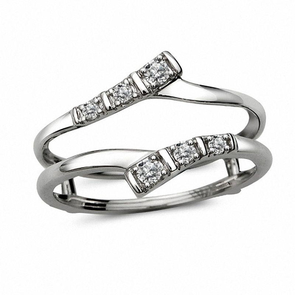 1/10 CT. T.W. Diamond Double Bypass Solitaire Enhancer in 10K White Gold