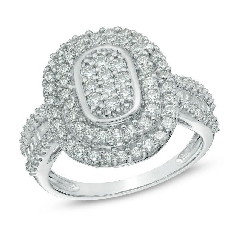 1 CT Diamond Double Oval Frame Ring in 14K White gold