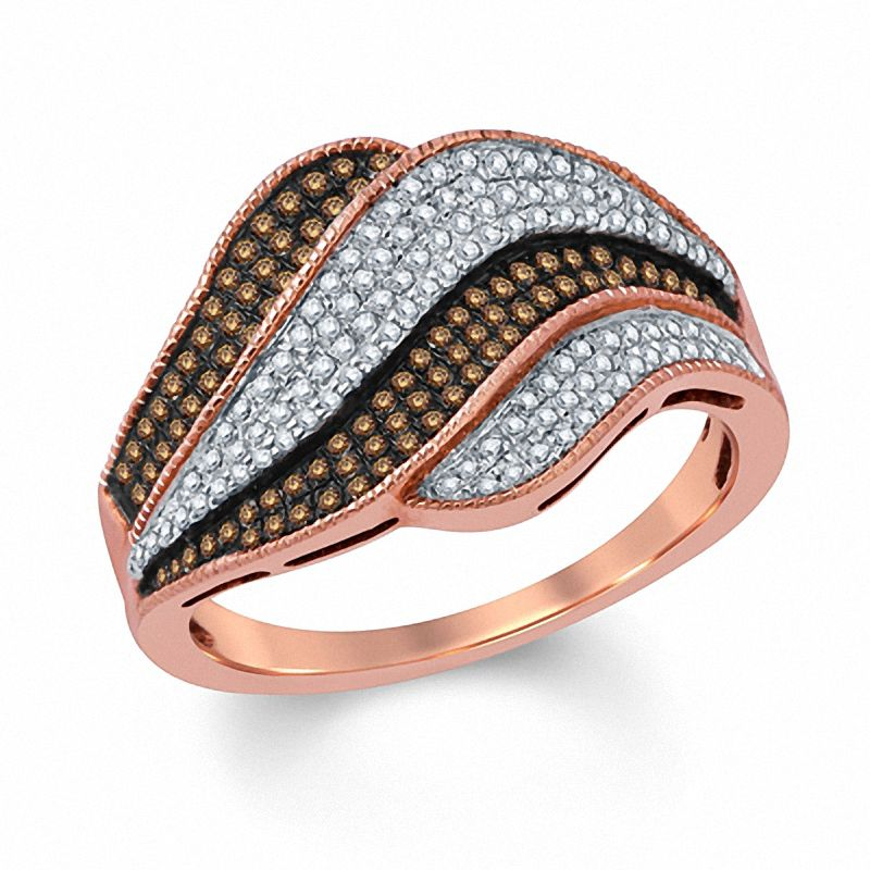 1 2 CT Champagne and White Diamond Rolling Waves Ring in 14K pink gold