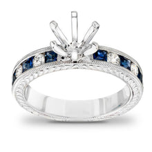 Load image into Gallery viewer, Princess-Cut Blue Sapphire and 1/5 CT. T.W. Diamond Semi-Mount Engagement Ring in 14K White Gold