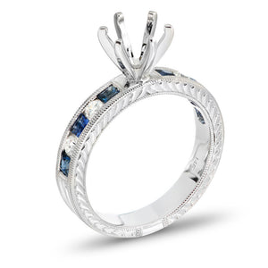 Princess-Cut Blue Sapphire and 1/5 CT. T.W. Diamond Semi-Mount Engagement Ring in 14K White Gold