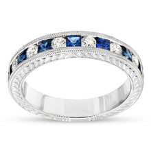 Load image into Gallery viewer, Princess-Cut Blue Sapphire and 1/4 CT. T.W. Diamond Wedding Band in 14K White Gold