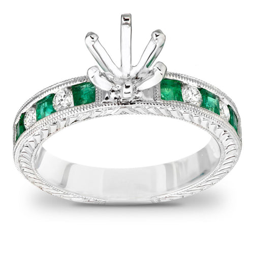 Princess-Cut Emerald and 1/5 CT. T.W. Diamond Semi-Mount Engagement Ring in 14K White Gold